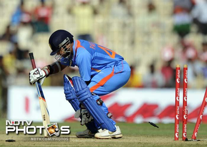 Roach bowled Parthiv Patel (in pic) in the next delivery to leave India struggling.