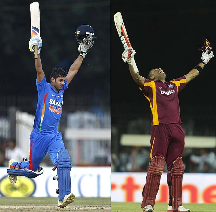 Two men rose to the occasion and scripted their maiden centuries at Chennai on Sunday. The final outcome of the match was more sweet for India's Manoj Tiwary than West Indies' Kieron Pollard. A look at how the hosts wrapped the series 4-1 in their favour. (AP and AFP images)