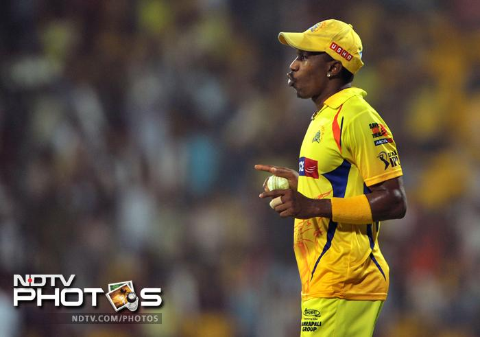 Dwayne Bravo is seen here celebrating the catch he took to dismiss fellow-West Indian Andre Russell for 16 off R Ashwin's delivery.