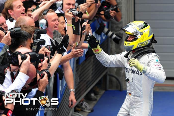 Celebrations though truly erupted in the Mercedes camp after Rosberg came home to his career's first Grand Prix win.