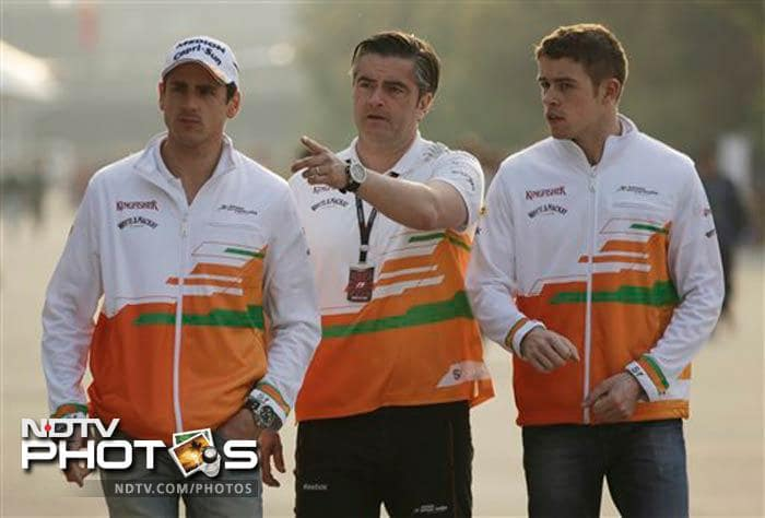 It was not a good day for Force India as Adrian Sutil of Germany (left) finished 13th.
