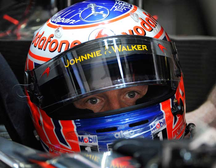 Jenson Button will start the Chinese Grand Prix in second place. (AFP Photo)