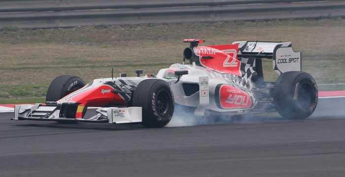 India's Narain Karthikeyan concludes the line-up for the Chinese Grand Prix as he will start in the 24th spot. (AP Photo)