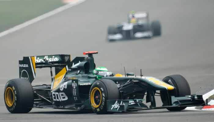 Team Lotus driver Heikki Kovalainen at the second practice session for the Chinese Grand Prix at the Shanghai International Circuit. (AFP Photo)