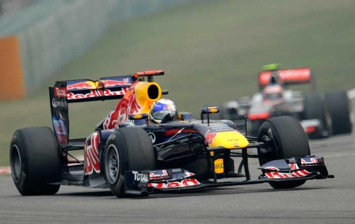 Red Bull-Renault driver Sebastian Vettel of Germany takes at the second practice session in Shanghai. (AFP Photo)