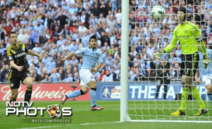 James Milner then saw a goalbound shot hit Aguero and Kompany spurned a fine chance in first-half injury time, side-footing wide from 10 yards after Cech could only parry Milner's cross. <br><br> It was an opportunity that City were to rue for only two minutes of the second half, as Aguero doubled his side's advantage in the 47th minute.