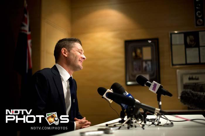"""The Aussie skipper is seen here talking to members of the press on Wednesday (May 29) in Cardiff. <br><br>""""I think if we win the Champions Trophy it'll be more than enough (experience of English conditions),"""" said Clarke when asked about Ashes and Champions Trophy. (AFP image)"""