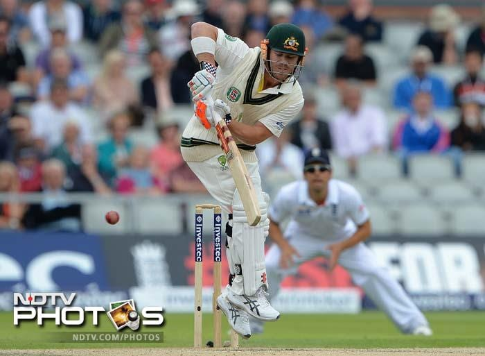 Australia sent David Warner to open in the quest for runs and he was greeted by a hostile Old Trafford crowd. Warner top-scored with 41 before play was called off with Australia at 172/7.