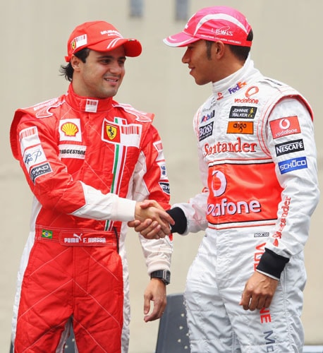 2008 (Lewis Hamilton vs Felipe Massa)<br><br> After being in the shadow of Michael Schumacher and then Kimi Raikkonen, Ferrari's Felipe Massa (left) finally came into his own during this season. On the other hand, after missing out on the F1 title by just a point in the previous season, Lewis Hamilton (right) looked even more determined and kept himself in contention through the year. Heading into the season-ending Brazilian GP, Hamilton had collected 94 points to Massa's 87 and even a 5th place finish would guarantee the McLaren driver the title. Although in the event of a tie of total points, Massa would secure the championship on account of more race wins.<br><br> In the qualifying, the Ferrari driver clinched his 6th pole of the season, while Hamilton who was nearly half a second slower, managed 4th. On D-day, intermittent rain made the already interesting clash even more exciting. It began to pour even before the start and by the end of the first lap, the safety car had been deployed due to two separate accidents involving David Coulthard and Nelson Piquet Jr. Massa however maintained his lead for most part of the race and by lap 54 extended his advantage over 2nd placed Fernando Alonso to 9.4 seconds.<br><br> Meanwhile, Hamilton, trailing at the 6th place, pushed hard, but could not find a way past Sebastian Vettel and Timo Glock. The Ferrari camp's joy knew no bounds when Massa crossed the chequered flag in the first place. But their celebrations were cut short and forced to end just as pre-maturely as they had begun. Glock who had stuck to his dry-weather tyres after it started to rain for the 2nd time on lap 63, struggled with his grip as his dry-weather tyres slid on the wet track. Owing to this, Hamilton finally passed Glock on the last corner to finish 5th and win the coveted prize in only his 2nd season.
