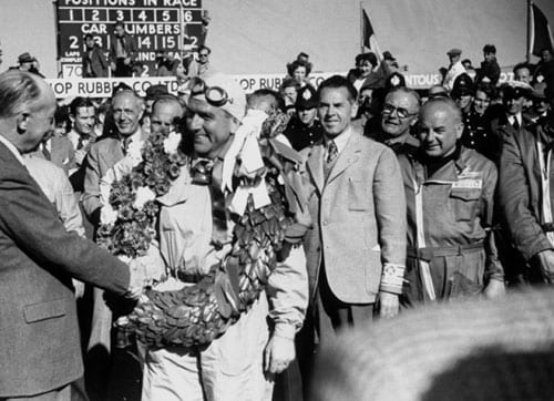 1950 (Giuseppe Farina vs Juan Manuel Fangio)<br><br> The 1950 season was the inaugural edition of the F1 championship and it proved to be quite a start. The championship consisted of 7 races, of which only the best four were counted towards the title. Points were given to the top 5 finishers (8, 6, 4, 3, 2) and a separate point was awarded for the fastest lap.<br><br> The Alfa Romeo's of Giuseppe Farina (2nd from left) and Juan Manuel Fangio dominated the season with 3 race wins apiece while Luigi Fagioli, driving for the same constructor, stayed close on their heels as the third contender. Going into the last race at Monza, Fangio had the upper hand as he not only led the drivers' standings but also clinched the pole position to tilt the odds further in his favour. However, a gearbox problem on lap 23 of the race ended Fangio's title hopes and in the end it was Farina who won the honour of being crowned the inaugural champion.<br><br> Farina won the deciding race to pip Fangio and Fagioli who finished 3rd in the race as well as overall. It was in fact with his triumph at Monza that Farina equalled Fangio in the number of race wins for the season. Farina won only because he had a better 4th result in a 4th place finish at the Belgian Grand Prix.