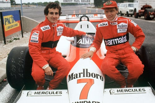 1984 (Niki Lauda vs Alain Prost)<br><br> It remained a two way battle through the season as the McLarens of Niki Lauda (right) and Alain Prost (left) stayed unmatchable. But, the fight between the two got closer than anything witnessed in the past. While Prost was definitely the faster of the two, Lauda proved to be the smarter and more consistent driver.<br><br> Lauda, then 35, was a F1 veteran while Prost, six years younger was only beginning to hit his peak years. Lauda already had two titles to his credit, but none since his comeback from retirement in 1982. Prost was still searching for his first. With 66 points, Lauda led Prost by 3.5 points, going into the concluding race of the season, the Portuguese GP. The win at the Monaco GP had earned Prost only half the points as the race was stopped mid way owing to heavy rain.<br><br> The Frenchman though, got the upper hand when he qualified 2nd while Lauda trailed behind at 11th. If Prost emerged as the race winner, Lauda needed to finish 2nd to claim his 3rd title. Luckily for Lauda, this is exactly what happened as he finished 2nd to Prost, but only in the race, and claimed his 3rd and final F1 championship by the narrowest of margins, a half a point. The Austrian became only the second driver after Denny Hulme in 1967, to win the title without achieving a single pole position in the season.