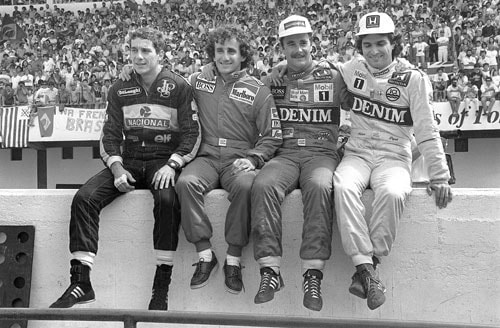 1986 (Nigel Mansell vs Alain Prost vs Nelson Piquet)<br><br> This season saw Williams team-mates, Nigel Mansell (2nd from right) and Nelson Piquet (extreme right) pitted against defending champion and McLaren driver Alain Prost (2nd from left), for the championship. Mansell who led Prost by 6 and Piquet by 7 points, also took the pole position for the season-ending Australian GP. Mansell was followed by Piquet while Prost started 4th on the grid.<br><br> Mansell's lead however didn't last long as Piquet, Ayrton Senna (extreme left) and Keke Rosberg overtook him by the end of the first lap. Rosberg, competing in his final GP, took the lead a few laps into the race, but was forced to retire with a tyre puncture on lap 63. This elevated Piquet back into the front with Mansell following in 2nd. This would have been enough for Mansell to win the championship, but it wasn't to be, as his left-rear tyre exploded with only 19 laps remaining, putting an end to his contention.<br><br> Piquet meanwhile bore the brunt of a pre-cautionary decision taken by his team. Following Rosberg and Mansell's tyre failures, Williams called in Piquet for a pit stop that left him 15 second behind Prost. Piquet made a late charge but could not prevent Prost from taking the race as well as the championship by 2 points over Mansell.