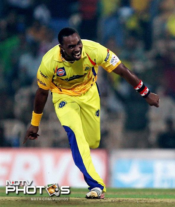 Dwayne Bravo celebrates Dane Vilas' wicket during the Champions League T20 match between Cape Cobras and Chennai Super Kings in Chennai. (PTI Photo)