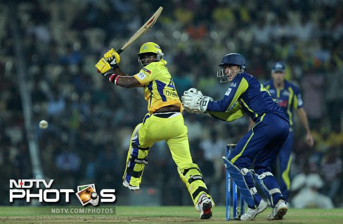 Dwayne Bravo in action during the Champions League T20 match between Cape Cobras and Chennai Super Kings in Chennai. (PTI Photo)
