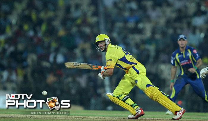 Michael Hussey in action during the Champions League T20 match between Cape Cobras and Chennai Super Kings in Chennai. (PTI Photo)