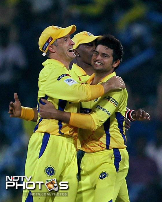 Chennai Super Kings players celebrate the wicket of Cape Cobras' Dane Vilas during the Champions League T20 match in Chennai. (PTI Photo)