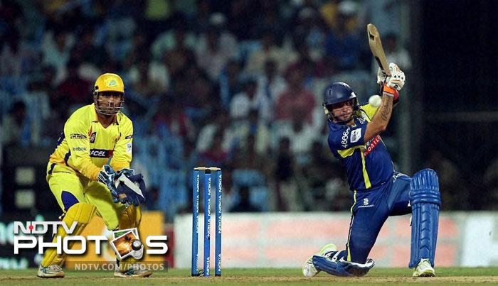 Herschelle Gibbs in action during the Champions League T20 match between Cape Cobras and Chennai Super Kings in Chennai. (PTI Photo)