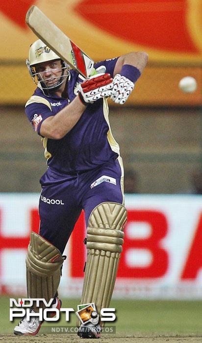 Kolkata Knight Riders batsman Jacques Kallis plays a shot during their Champions League Twenty20 match against Royal Challengers Bangalore in Bangalore. (AP Photo)