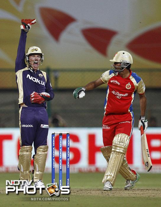Kolkata Knight Riders' Brad Haddin appeals successfully for the wicket of Royal Challengers Bangalore's Mohammad Kaif during their Champions League Twenty20 match in Bangalore. (AP Photo)
