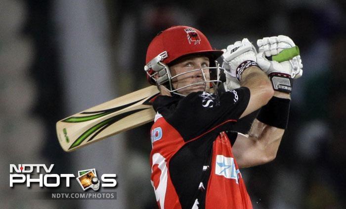 South Australian Redbacks cricketer Daniel Harris plays a shot against Kolkata Knight Riders during the Champions League Twenty20 match in Hyderabad. (AP Photo)