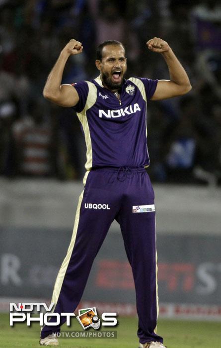 Kolkata Knight Riders' Yusuf Pathan celebrates the wicket of South Australian Redbacks' Cameron Borgas during the Champions League Twenty20 match in Hyderabad. (AP Photo)