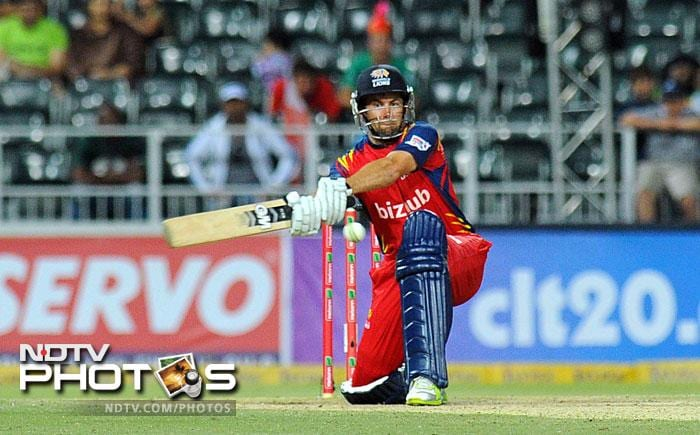 Highveld Lions Neil McKenzie bats Mumbai Indians in the Group B Match of the Champions League T20 (CLT20) at the Wanderers Stadium in Johannesburg. (AFP Photo)