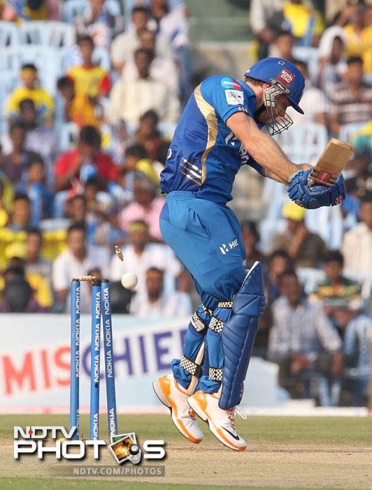 Aiden Blizzard is clean bowled by Stuart Clark during the Champions League T20 match between Mumbai Indians and New South Wales Blues at the M.A. Chidambaram Stadium in Chennai. (AFP Photo)