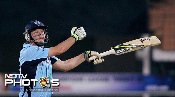 New South Wales Blues' Steven Smith in action during the Champions League T20 match against Mumbai Indians in Chennai. (PTI Photo)