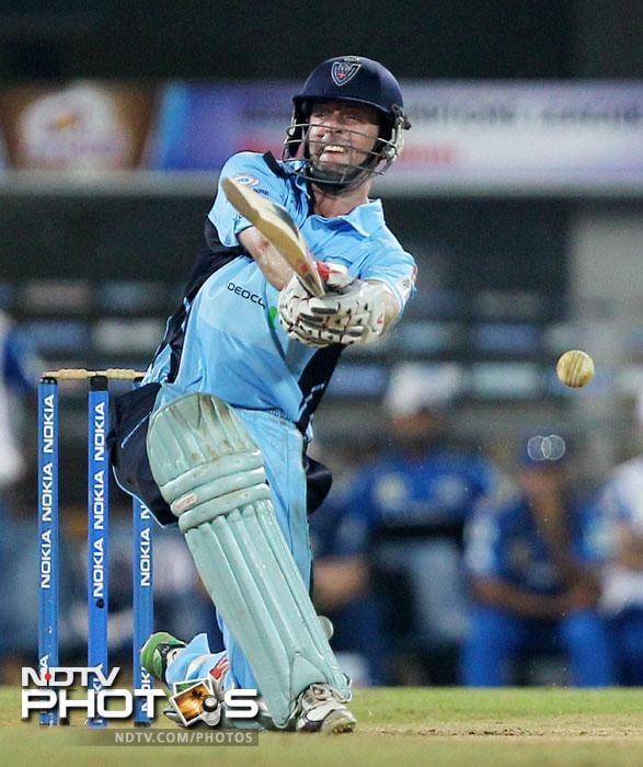 New South Wales Blues' Ben Rohrer in action during the Champions League T20 match against Mumbai Indians in Chennai. (PTI Photo)