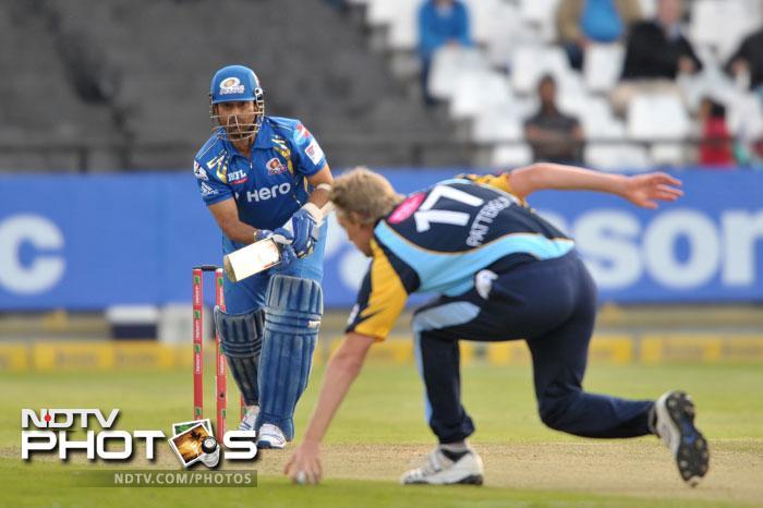 Sachin Tendulkar of the Mumbai Indians bats during Match 11 of the Champions League T20 between the Mumbai Indians (India) and Yorkshire (England) at Newlands Cricket Stadium in Cape Town. (AFP Photo)