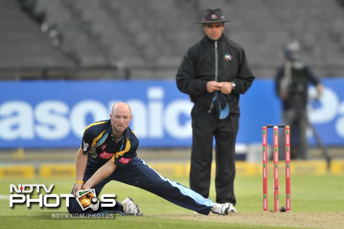 Adam Lyth of Yorkshire Carnegie fields during Match 11 of the Champions League T20 between the Mumbai Indians (India) and Yorkshire (England) at Newlands Cricket Stadium in Cape Town. (AFP Photo)