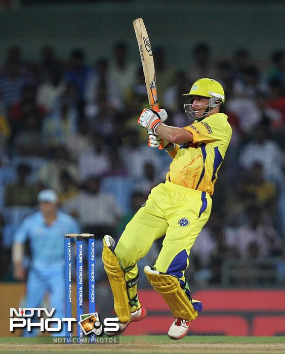 Chennai Super Kings' Michael Hussey in action during the Champions league T20 match against New South Wales Blues' in Chennai. (PTI Photo)