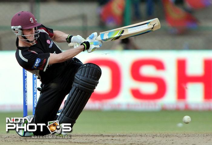 Craig Kieswetter plays a shot during the Champions League Twenty20 League match between Warriors and Somerset at the M. Chinnaswamy Stadium in Bangalore. (AFP Photo)