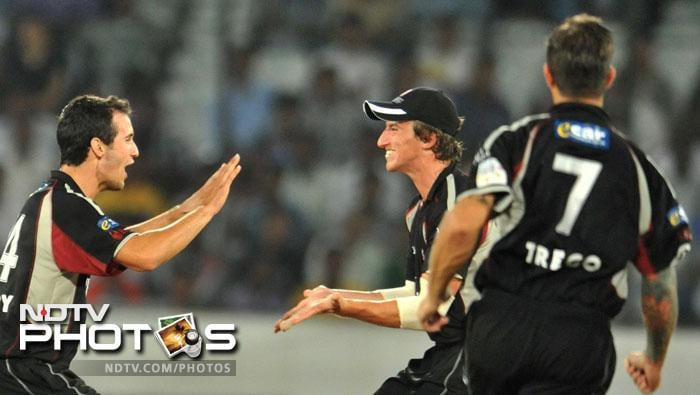 Lewis Gregory celebrates taking the wicket of Gautam Gambhir during the Champions League Twenty20 Group B match between Kolkata Knight Riders and Somerset at the Rajiv Gandhi International Stadium in Hyderabad. (AFP Photo)