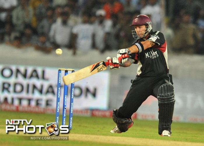 Peter Trego plays a shot during the Champions League Twenty20 Group B match between the Kolkata Knight Riders and Somerset at the Rajiv Gandhi International Stadium in Hyderabad. (AFP Photo)