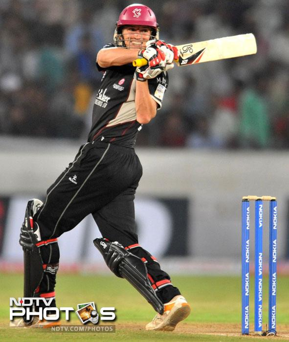 Chris Jones play a shot during the Champions League Twenty20 Group B match between Kolkata Knight Riders and Somerset at the Rajiv Gandhi International Stadium in Hyderabad. (AFP Photo)