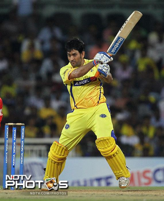 Chennai Super Kings' skipper MS Dhoni in action during the Champions League T20 match against Trinidad & Tobago in Chennai. (PTI Photo)