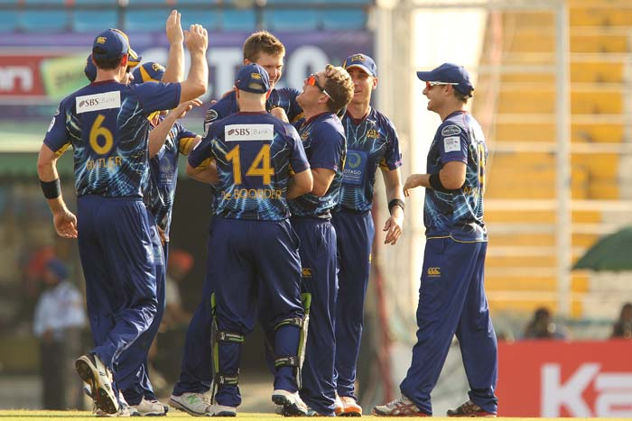 Brendon McCullum led from the front to help Otago Volts beat Faisalabad Wolves by 8 wickets the first qualifier in Mohali. McCullum remained not out on 83 while Derek de Boorder scored an unbeaten 30 to see Otago home. Earlier, James McMillan, Ian Butler and Jimmy Neesham bagged two wickets apiece to restrict Faisalabad to 139/8. (All BCCI images)