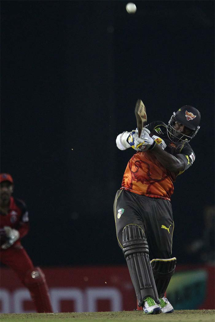 Thisara Perera remained not out on 57 off 32 balls to help Sunrisers Hyderabad beat Trinidad & Tobago by 4 wickets. His knock was laced with four sixes and as many fours.