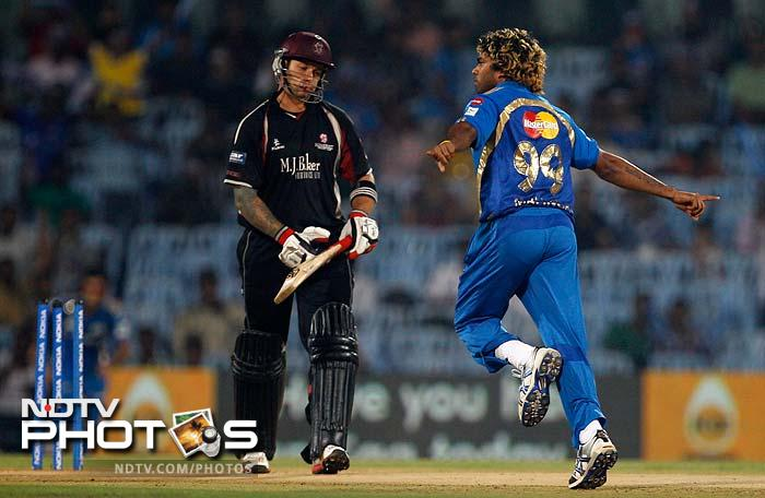 Lasith Malinga ensured that Somerset chase began disastrously. He removed Peter Trego off his second delivery.