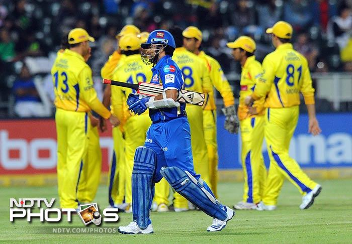 Sachin Tendulkar was the first casualty for Mumbai Indians as he scored just 2 runs and departed in the fourth over after a slow start.
