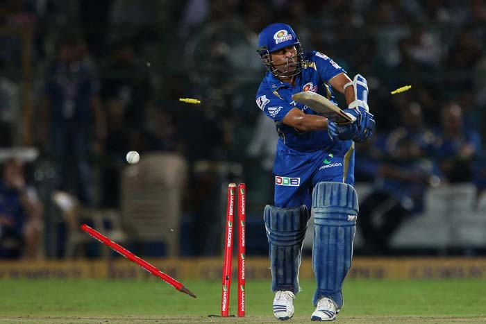 Mumbai Indians' chase received an early blow when Sohail Tanvir struck in the third over to remove Sachin Tendulkar for just five.