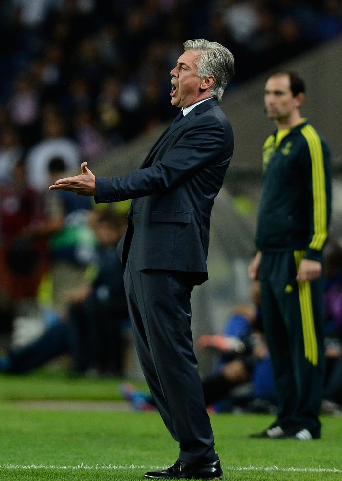 Paris Saint-Germain's coach Carlo Ancelotti shouts instructions which perhaps never found an ear considering the high decibel levels in the stadium. But credit to him. He kept at it during his team's match vs FC Porto.