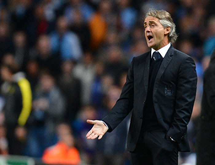 Manchester City's Italian manager Roberto Mancini has that 'that's what I have been telling you to do' look on his face when his side played against Dortmund.