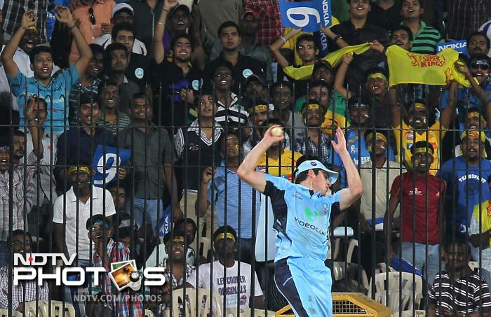 Moises Henriques takes a catch to dismiss Gibbs and cut his innings short on 55.