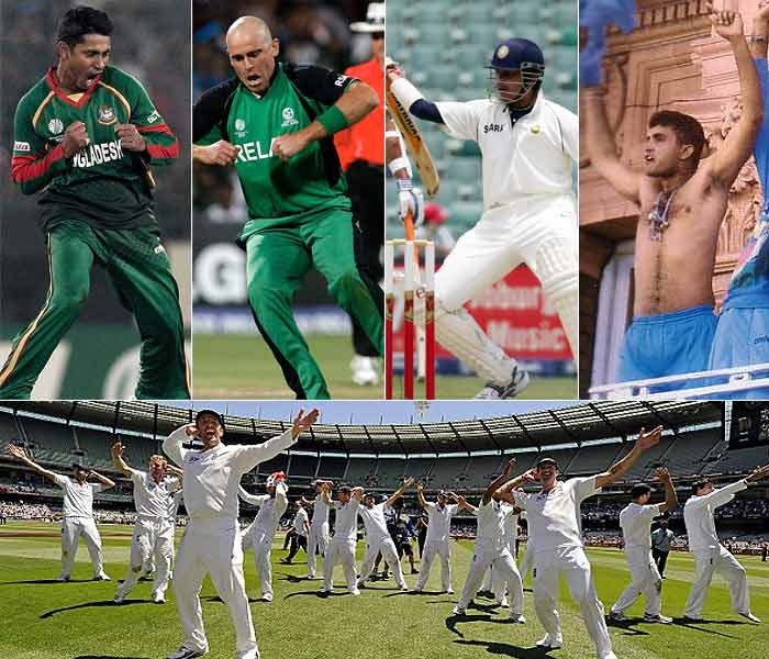 Nothing's more ecstatic than victory, never mind if the competition is between two teams or it's a one on one. Here's a compilation of some funny, wacky and groovy celebrations by our cricketers.