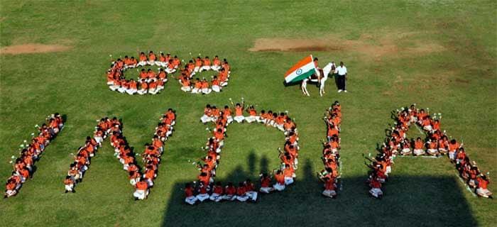 "School children form a human chain that reads ""Go India"". Patriotism in full spirit."