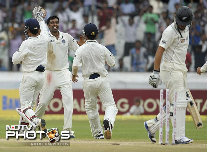Skipper Ross Taylor failed to lead by example as he was stumped off the bowling of Ravichandran Ashwin.