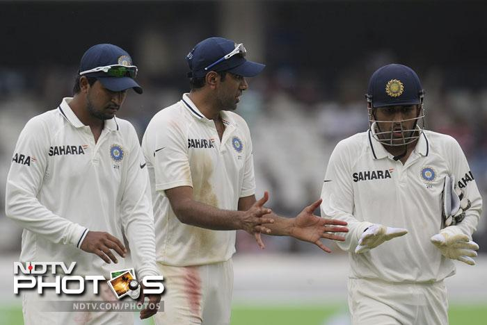 But the New Zealand batsmen were no match for the Indian spinners as Pragyan Ojha and Ravichandran Ashwin shared nine of the ten wickets. Ashwin got the lion's share picking up six in the innings and twelve in the match.