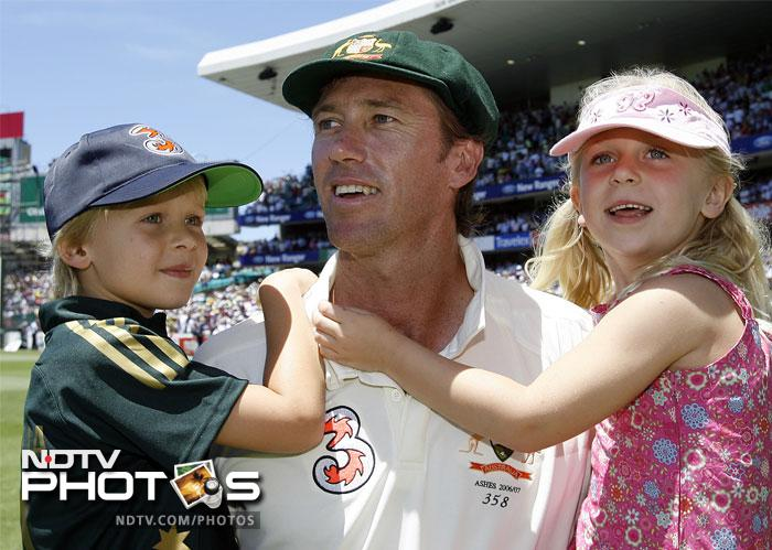 Glenn McGrath with his two children - James and Holly.